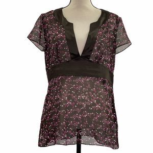 Style & Co Sheer Chiffon Floral V-Neck Blouse 12